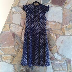 Review blue, pink  Floral high neck flutter sleeve Dress Size 8